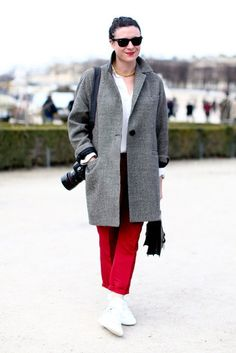 Très Chic! The Best Street Style at Paris Fashion Week: Garance Doré showed off her style in front of the camera in bold trousers and a menswear-inspired coat. / I love her!