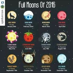 provocative-planet-pics-please.tumblr.com #Repost @wiccanpath with @repostapp  Hi followers! How are you gearing up for #2016? Heres a list of full moons for the upcoming year. I hope youre all having a lovely evening. I wish you love light and joy.  #fullmoon #zodiac #planets #planetaryalignment #wicca #witch #pagan #newyearseve #loveandlight #blessedbe by carrol1994 https://www.instagram.com/p/BBKs9dCQ2io/