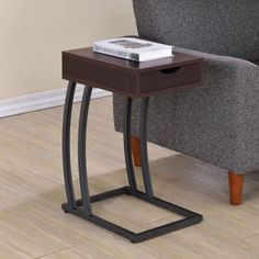 Coaster Furniture Metal and Wood C-Shaped Accent Table, Brown #coasterfurniturebrown