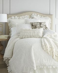 """""""Crochet"""" Bed Linens by Pine Cone Hill at Horchow."""