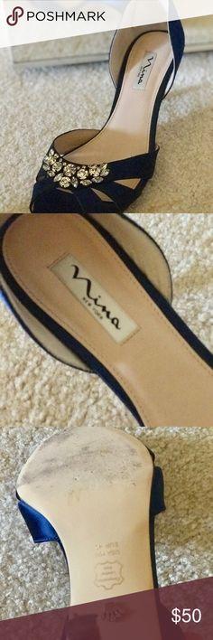 """Navy Heels Lightly used Wedding shoes """"something blue"""" Nina Shoes Heels  #weddingshoes"""