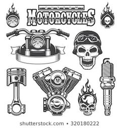Buy Set of Vintage Monochrome Motorcycle Elements by VectorPot on GraphicRiver. Set of vintage monochrome motorcycle elements, isolated on white background. Biker Tattoos, Motorcycle Tattoos, Motorcycle Art, Redneck Tattoos, Vintage Tattoo Design, Monochrome, Old School Motorcycles, Harley Davidson Wallpaper, Tatuagem Old School