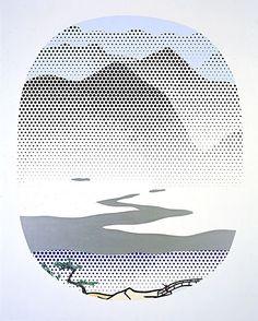 Lichtenstein (Paintings all) Roy Lichtenstein, Pop Art, River, Oil, Landscape, Canvas, Artist, Painting, Glass