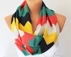Infinity Scarf Loop Scarf Circle Scarf Cowl Scarf Soft and Lightweight Zigzag Chevron Print Red Green Yellow from fairstore on Etsy. Loop Scarf, Circle Scarf, Mode Style, Style Me, Chevron Infinity Scarves, Red Green Yellow, Swagg, Playing Dress Up, A Boutique