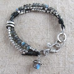 Labradorite with Fine Silver and knotted Leather by BohBiJewelry