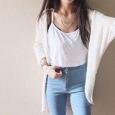 Pinterest: @barbphythian || everyday look | white tank top/vest, high waisted light blue jeans, cardi