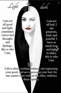 Wicca Teachings — Embrace your light and dark side. Keeping a. Ying Y Yang, Yin And Yang, Ange Demon, Book Of Shadows, Dark Side, Light Side, Light In The Dark, Light And Dark Quotes, Me Quotes