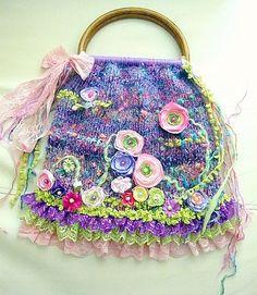 Knitted bag Springwoolflowerssatinlacethreadwood by irinacarmen, $85.00