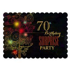 Surprise Birthday Invitations Modern 70th Surprise Birthday Party Card