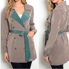 """Lightweight Taupe Trench Spy Coat! Made in USA Thanks for stopping by. This show stopping jacket is made in the USA. Comes in Small, Medium. Fabric content is 100% polyester. Color is Taupe and Teal. Its made out of a nice lightweight material. I am wearing a medium model in last photo is wearing a small. Small Measurements B: 16"""" W:12"""" L:31"""" (2/4) Medium (4/6) offers are warmly welcomed. Have a great day! ~Namaste Naturally Spiritual Boutique Jackets & Coats Trench Coats"""