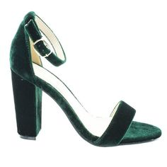 Green Velvet by Bamboo, Green Velvet classic high heel dress sandal w ankle strap chunky block heel Ankle Strap Wedges, Ankle Straps, Ankle Booties, Knee High Boots Dress, Green High Heels, Open Toe Shoes, Sneaker Boots, Party Shoes, Peep Toe Pumps