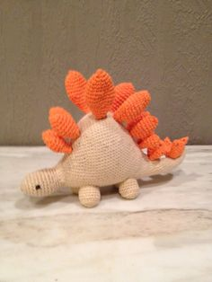 Stegosaurus is worked mostly in double crochet (or, single croch. Double Crochet, Free Pattern, Dinosaur Stuffed Animal, Ship, Toys, Blog, Animals, Button, Amigurumi