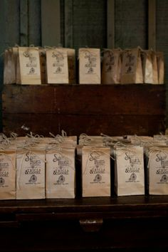 Brown Bag Rustic Wedding Favors stamped with your custom stamp