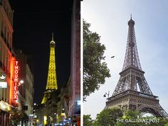 Eiffel Tower at both day and night