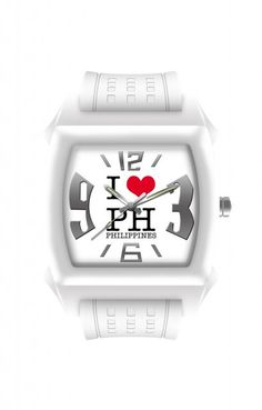 """""""I ♥ PH PHILIPPINES"""" - [White - Small]    The rounded square black dial has a promiment """"I ♥ PH PHILIPPINES"""" design at the center, surrounded by stylized silver rectangles and 3, 6, 9 and 12 hour indices. Its silver and luminous hands make reading time easy even in the dark."""