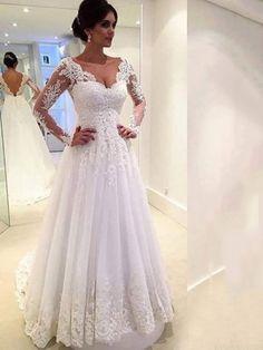 V-Neck Backless Long Sleeve Court Lace Wedding Dress