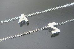 Double-Sided Sterling Silver Tiny Single Letter  Initial Necklace Earrings Bridal Bridesmaids Birthday Christmas Initial Letter Necklace on Etsy, $22.55