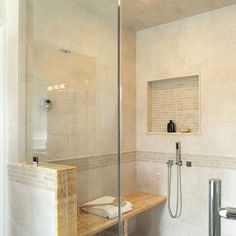Crema Marfil Bathroom Design Ideas, Pictures, Remodel, and Decor - page 18, Glass Tile Home