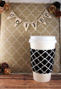 Black and White Quatrefoil Pattern - Quatrefoil Coffee Cozy - Coffee Cozy - Fabric Coffee Cozy - Tea Cozy by SewLoveToSew on Etsy