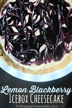 LEMON BLACKBERRY ICEBOX CHEESECAKE – the perfect blend of sweet & tart all whirled together in a creamy delicious cheesecake with a golden cookie crust that's super easy to make & no baking required! | MrsHappyHomemaker.com @thathousewife