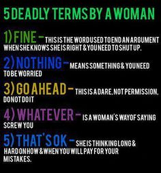 5 deadly terms by a woman.  It's actually dead on for me!