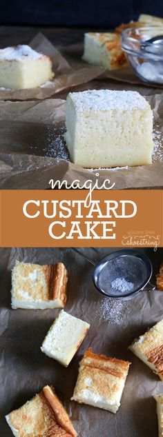 I want this for my Birthday Cake! This magic gluten free custard cake creates 3 layers all by itself. The simplest ingredients make this light and fluffy cake with a custard center! Gluten Free Deserts, Gluten Free Sweets, Gluten Free Cakes, Foods With Gluten, Gluten Free Cooking, Dairy Free Recipes, Gluten Free Vanilla Cake, Magic Custard Cake, Custard Recipes