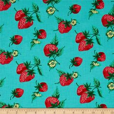 "Designed by Verna Mosquera for Free Spirit, this ""Fruta y Flor"" cotton print is perfect for quilting, apparel and home decor accents. This collection is inspired by vintage botanical fruit prints and retro vibes. Colors include aqua blue, red, green and yellow."