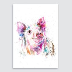 Colorful Pig Print Pig Art Products In Pig Art Art - Colorful Pig Art Squeal Appeal Print Modern Canvas Wall Art For Home And Office Decoration Inch Giclee Artwork For Wall Decor Thoughtful Art Print Colorful Pig Art Squeal Appeal By Sharon Cumming Watercolor Art Paintings, Watercolor Design, Watercolor Animals, Animal Paintings, Animal Art Projects, Pig Art, Art Design, Fantasy, Sculpture