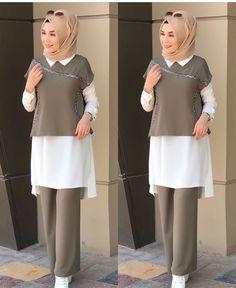 Tunik dan pantalon Modest Fashion Hijab, Hijab Style Dress, Modern Hijab Fashion, Street Hijab Fashion, Casual Hijab Outfit, Hijab Chic, Fashion Mode, Fashion Outfits, Modern Abaya