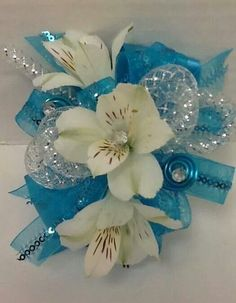 New diy wedding bouquet fake flowers wrist corsage ideas Blue Corsage, Prom Corsage And Boutonniere, Flower Corsage, Corsage Wedding, Wrist Corsage, Wedding Bouquets, Boutonnieres, Prom Flowers, Fake Flowers