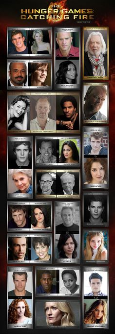 Our Catching Fire Cast is complete! Check out the rest of the tributes here: hunger-games-catching-fire-mockingjay Hunger Games Cast, Hunger Games Movies, Hunger Games Catching Fire, Hunger Games Trilogy, Fire Movie, It Movie Cast, It Cast, Full Cast, This Is A Book