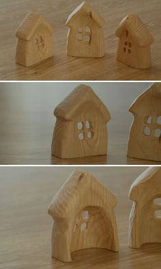 Handcarved mini houses