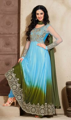 Blue and Green Embroidered Long Anarkali Suit