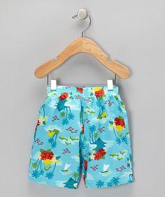 i play Aqua Hawaiian Swim Trunks - Infant & Toddler Baby Swimwear, Surfer Dude, Kiddie Pool, Infant Toddler, Swim Trunks, Hawaiian, Aqua, Babies, Play