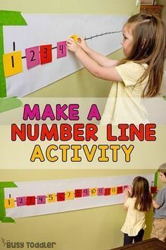 Looking for a quick and easy math activity? Try making a Post-it Number line! It's a simple indoor learning activity that kids love doing. A perfect preschool math game from Busy Toddler. Preschool Learning Activities, Preschool Lessons, Preschool Classroom, Toddler Preschool, Math Games For Preschoolers, Preschool Education, Classroom Games, Kindergarten Math Games, Preschool Projects