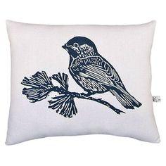 Chickadee Block Print Accent Pillow