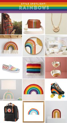 There is an undeniable effect of joy caused by the appearance of a rainbow. It's an amazing natural phenomenon that also doubles as a sign of hope, unity, acceptance and LOVE. So in the spirit of brightening up this gloomy and cold Friday in February, I gathered up a collection of really cool pieces in rainbow colors and patterns! And being that this is a style blog, I had to include an array of things to put in your home and on your body, all with a rainbow theme.