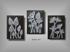 Acrylmalerei - Acrylbild auf Malpappe *Crazy Flowers * Trio #012 - ein…