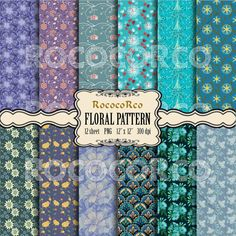 50 % OFF SALE Digital Scrapbook Paper Pack Floral by RococoRco