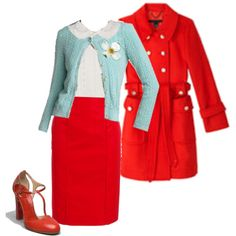 A fashion look from April 2011 featuring white sleeveless blouse and pencil skirts. Browse and shop related looks. Summer Teacher Outfits, Teacher Wear, College Outfits, Skirt Outfits, Cute Outfits, Librarian Style, White Sleeveless Blouse, Estilo Retro, Red Skirts