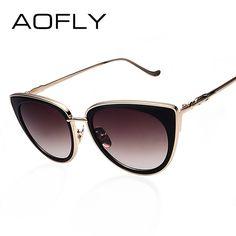 c093cee79 AOFLY Gato Olho Mulheres óculos de Armação de Metal Óculos De Sol Feminino  Óculos de Sol
