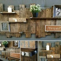 Reclaimed Wood Wall Shelf, Reclaimed Wood Wall Decor, Holzregal, Palettenwand, R . Rustic Wall Shelves, Wood Wall Shelf, Wooden Wall Decor, Pallet Shelves, Wall Shelving, Wooden Diy, Reclaimed Wood Wall Art, Rustic Wood Walls, Wooden Walls