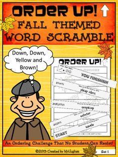 Order Up! Fall Themed Word Scramble