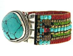 Chili Rose Sleeping Beauty Turquoise with Rustic Earth Tones - Arm Candy! www.icejewelry.com