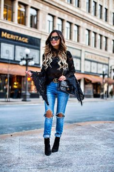 Under $100: Lace & Bell Sleeves - MINKPINK Lace Top // Levi's Jeans // Gucci Double G Buckle Belt // Saint Laurent Sunglasses // Chanel Bag  January 13th, 2017 by maria