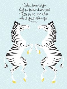 Two Zebras (Dr. Seuss) Blue Art Print by Lay Baby Lay