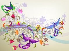123RF Decorative Colorful Background With Stylized Flowers And Birds.. Royalty Free Cliparts, Vectors, And Stock Illustration. Image 10225019.