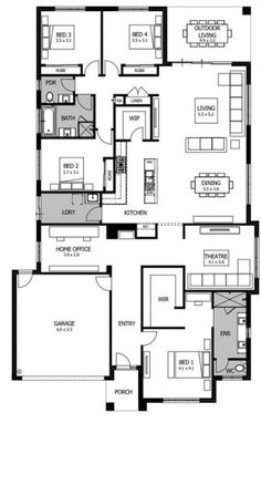 Display Homes Melbourne & Geelong Small House Floor Plans, Home Design Floor Plans, New House Plans, Modern House Plans, 4 Bedroom House Plans, Latest House Designs, Bungalow House Design, Floor Layout, Boutique Homes