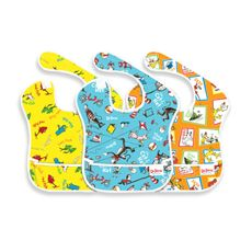 Bumkins' bibs. They come in all sorts of designs in addition to this fun Dr. Seuss pack. They wipe clean and catch crumbs. In other words: less laundry.