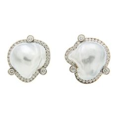 Baroque Pearl Pave and Bezel Set Diamond Gold Earrings.DIMENSIONS: 21.95 mmWx26.79 mmD. LENGTH: 25 mm.